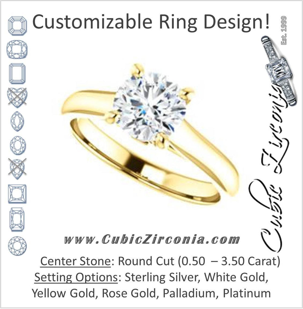Cubic Zirconia Engagement Ring- The Tawanda (Customizable Round Cut Cathedral Setting with Peekaboo Accents)