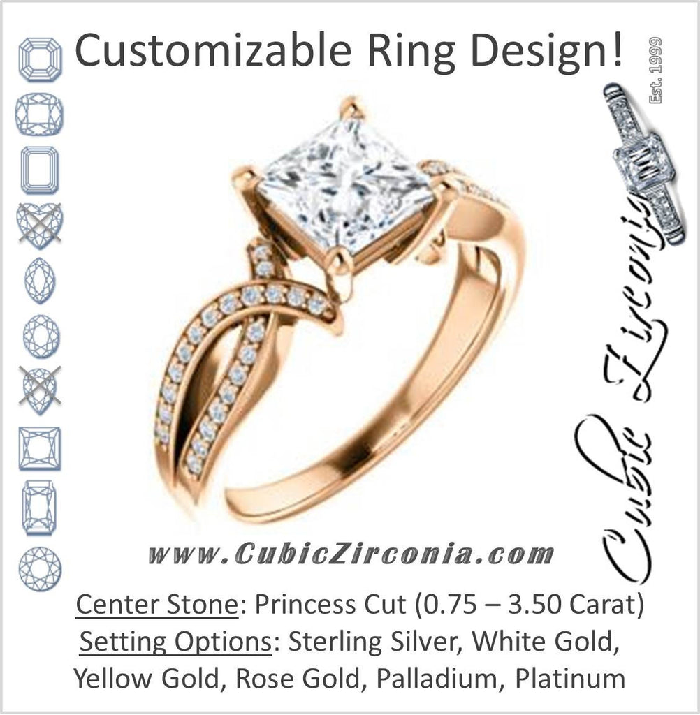 Cubic Zirconia Engagement Ring- The Tawny (Customizable Princess Cut Bypass Pavé Split-Band with Twist)