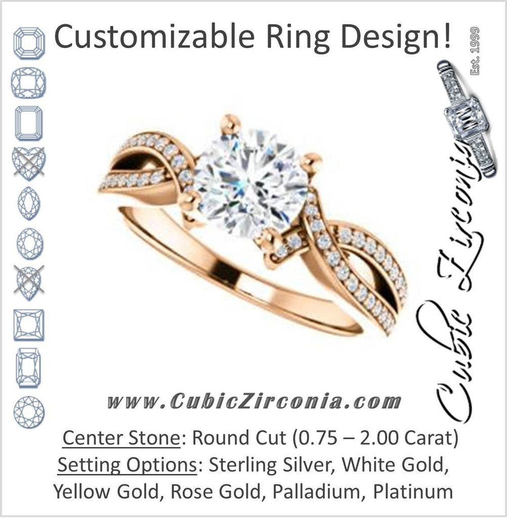 Cubic Zirconia Engagement Ring- The Tawny (Customizable Round Cut Bypass Pavé Split-Band with Twist)