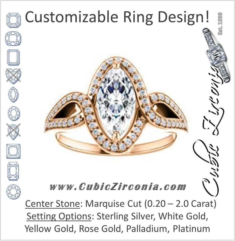 Cubic Zirconia Engagement Ring- The Taylor Ann (Customizable Marquise Cut Center with Twisting Halo & Wide Split-Pavé Band)