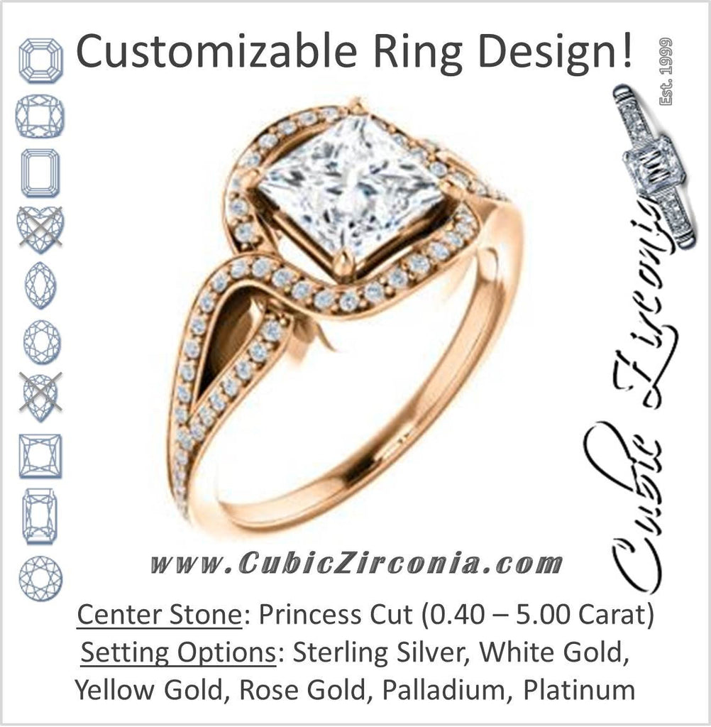 Cubic Zirconia Engagement Ring- The Taylor Ann (Customizable Princess Cut Center with Twisting Halo & Wide Split-Pavé Band)