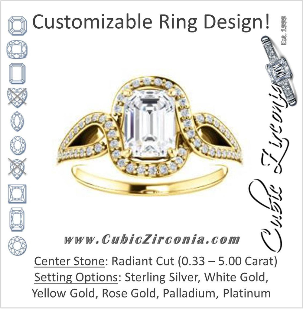 Cubic Zirconia Engagement Ring- The Taylor Ann (Customizable Radiant Cut Center with Twisting Halo & Wide Split-Pavé Band)