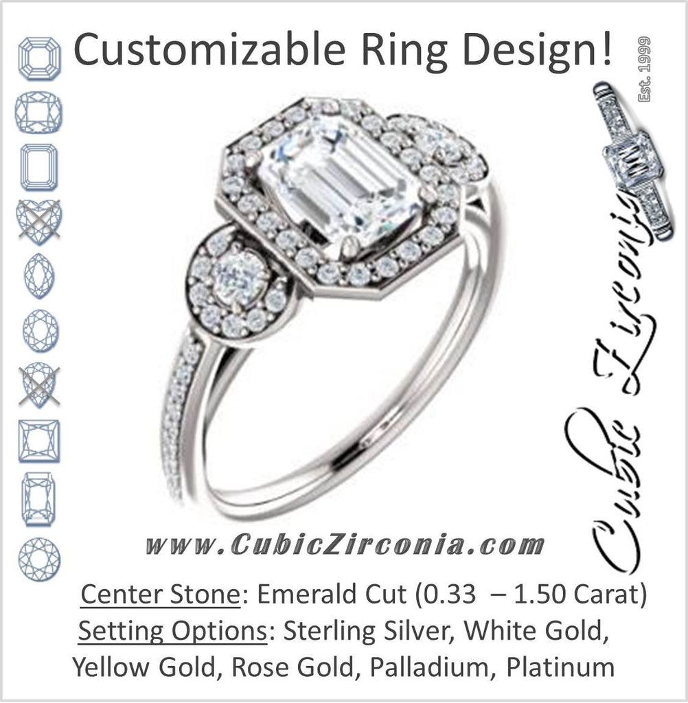 Cubic Zirconia Engagement Ring- The Téa (Emerald Cut Customizable 3-Stone Cathedral-Halo with Accented Band)