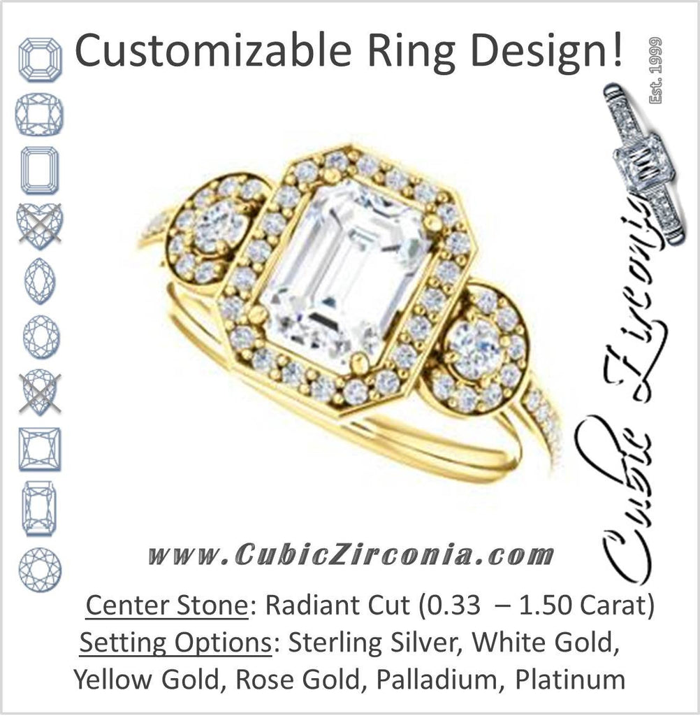 Cubic Zirconia Engagement Ring- The Téa (Radiant Cut Customizable 3-Stone Cathedral-Halo with Accented Band)