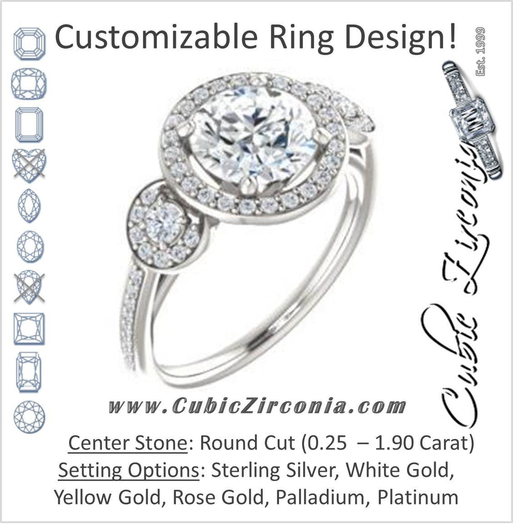Cubic Zirconia Engagement Ring- The Téa (Round Cut Customizable 3-Stone Cathedral-Halo with Accented Band)