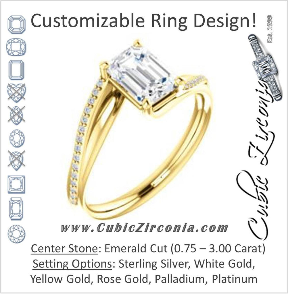 Cubic Zirconia Engagement Ring- The Teena (Customizable Emerald Cut with 3-sided Twisting Pavé Split-Band)