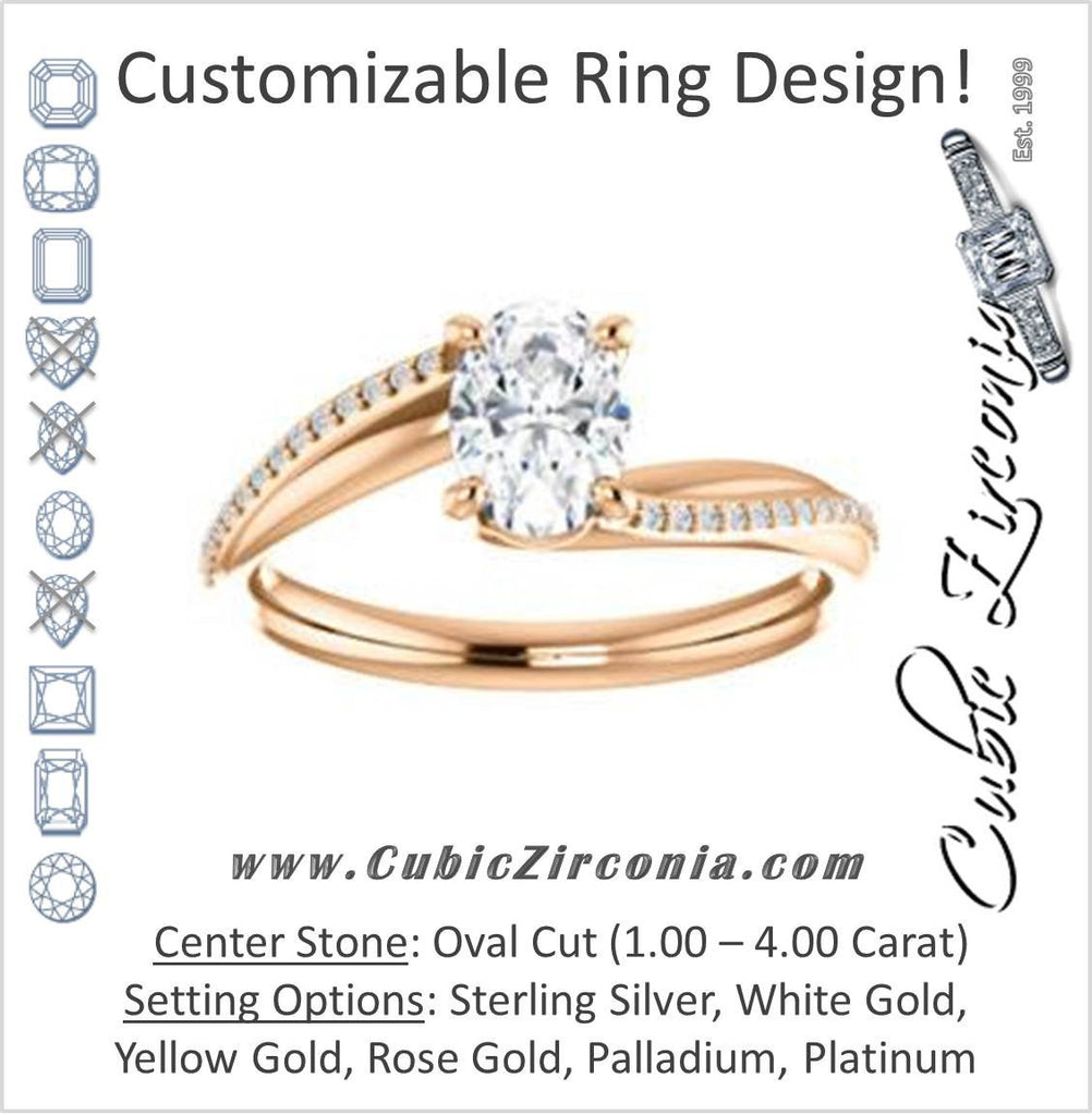 Cubic Zirconia Engagement Ring- The Teena (Customizable Oval Cut with 3-sided Twisting Pavé Split-Band)