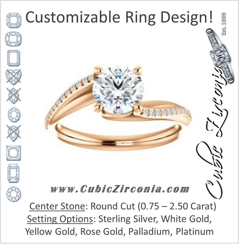 Cubic Zirconia Engagement Ring- The Teena (Customizable Round Cut with 3-sided Twisting Pavé Split-Band)