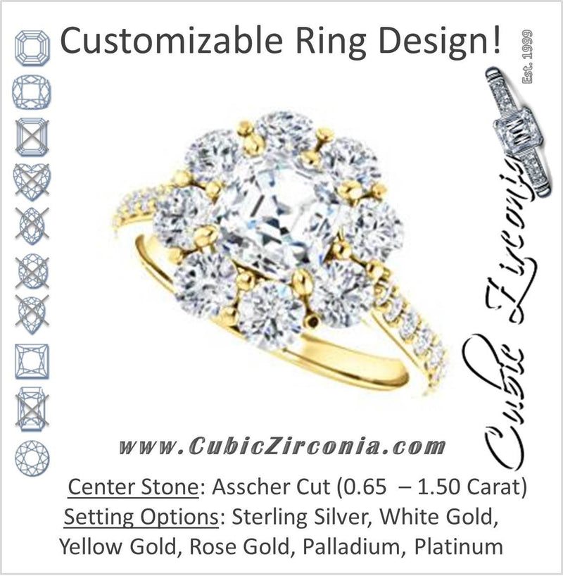 Cubic Zirconia Engagement Ring- The Temeka (Customizable Cathedral-Asscher Cut Style featuring Large-Accent Floral Cluster Halo and Thin Pavé Band)