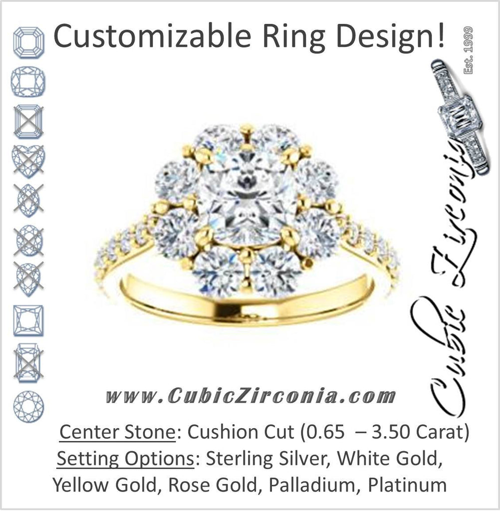 Cubic Zirconia Engagement Ring- The Temeka (Customizable Cathedral-Cushion Cut Style featuring Large-Accent Floral Cluster Halo and Thin Pavé Band)