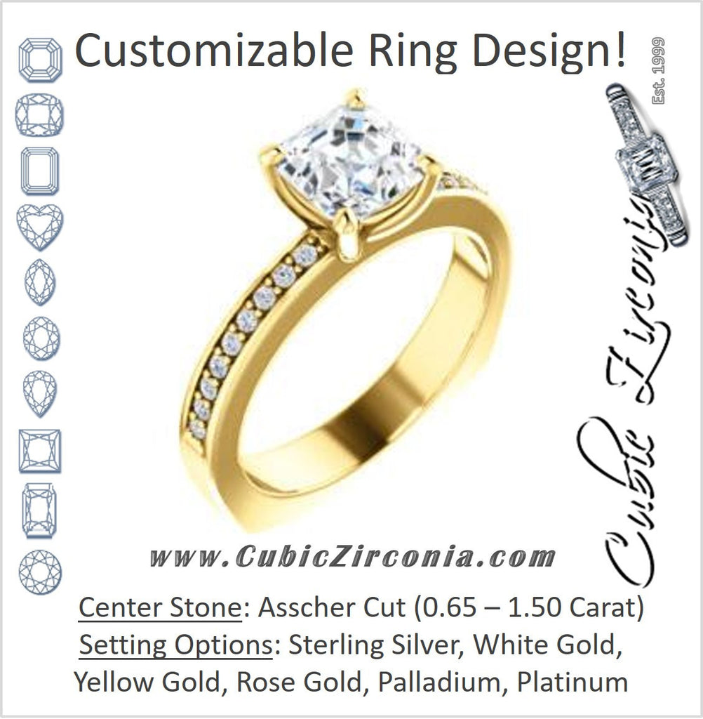Cubic Zirconia Engagement Ring- The Tesha (Customizable Asscher Cut Design with Pavé Band & Euro Shank)