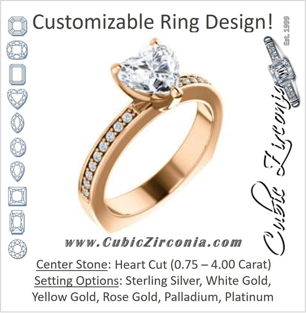 Cubic Zirconia Engagement Ring- The Tesha (Customizable Heart Cut Design with Pavé Band & Euro Shank)
