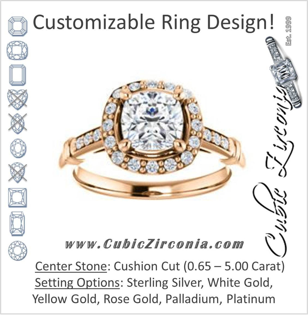 Cubic Zirconia Engagement Ring- The Thelma Ann (Customizable Cathedral-Halo Cushion Cut Design with Thin Accented Band)