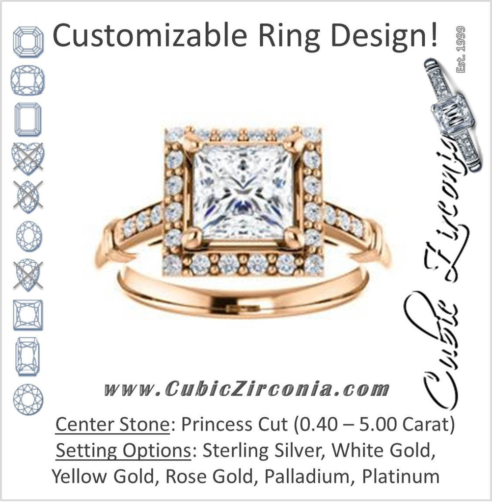 Cubic Zirconia Engagement Ring- The Thelma Ann (Customizable Cathedral-Halo Princess Cut Design with Thin Accented Band)