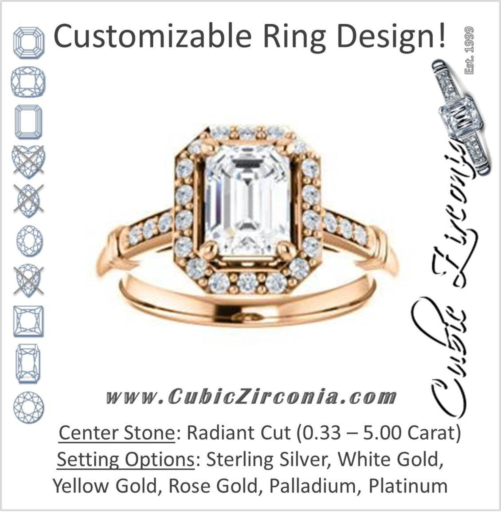 Cubic Zirconia Engagement Ring- The Thelma Ann (Customizable Cathedral-Halo Radiant Cut Design with Thin Accented Band)
