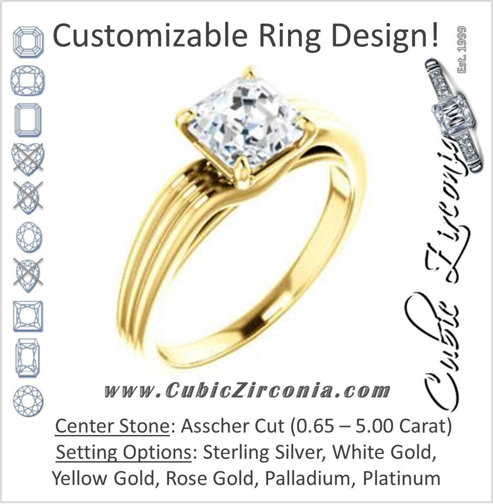 Cubic Zirconia Engagement Ring- The Therese (Customizable Asscher Cut Solitaire with Column Motif Double-Grooved-Band)