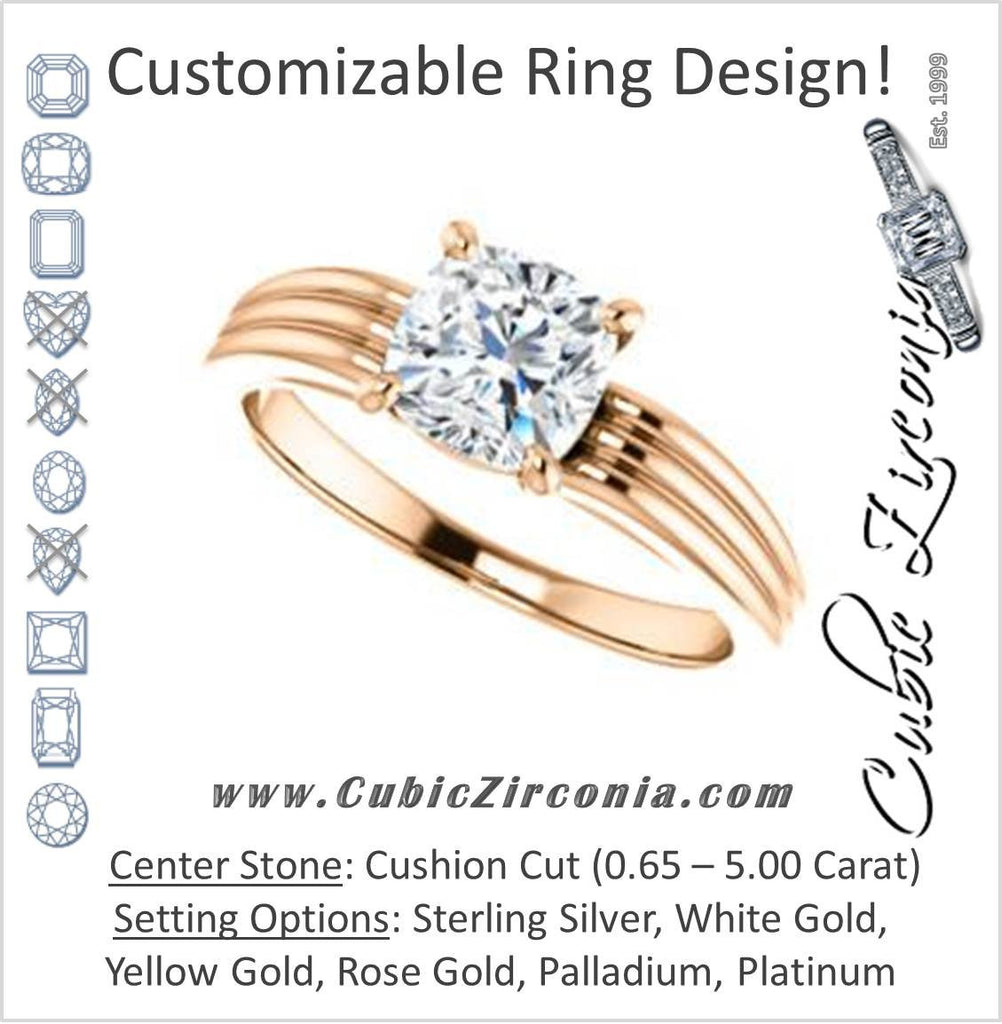 Cubic Zirconia Engagement Ring- The Therese (Customizable Cushion Cut Solitaire with Column Motif Double-Grooved-Band)