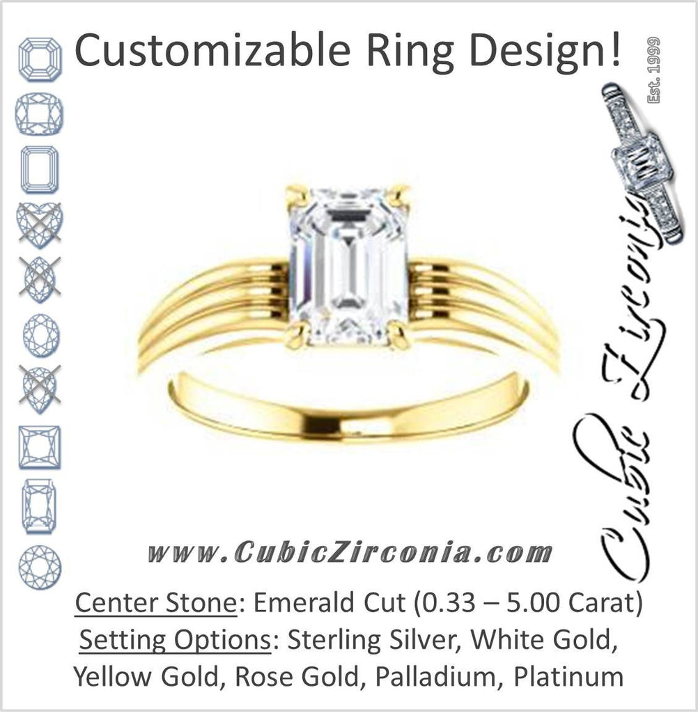 Cubic Zirconia Engagement Ring- The Therese (Customizable Emerald Cut Solitaire with Column Motif Double-Grooved-Band)