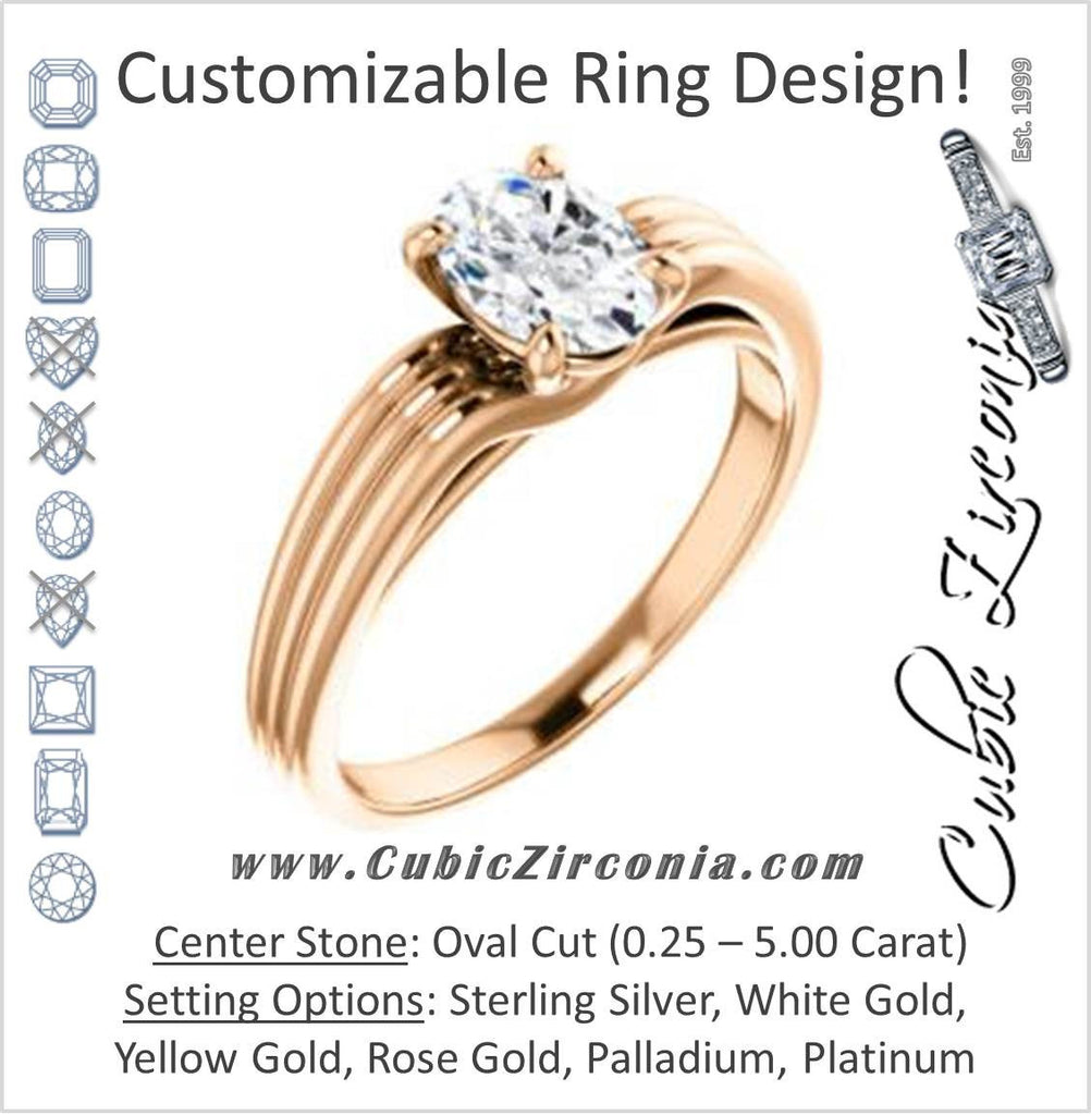Cubic Zirconia Engagement Ring- The Therese (Customizable Oval Cut Solitaire with Column Motif Double-Grooved-Band)