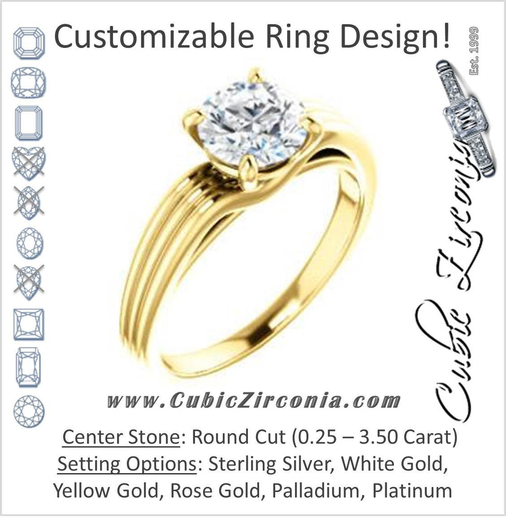 Cubic Zirconia Engagement Ring- The Therese (Customizable Round Cut Solitaire with Column Motif Double-Grooved-Band)