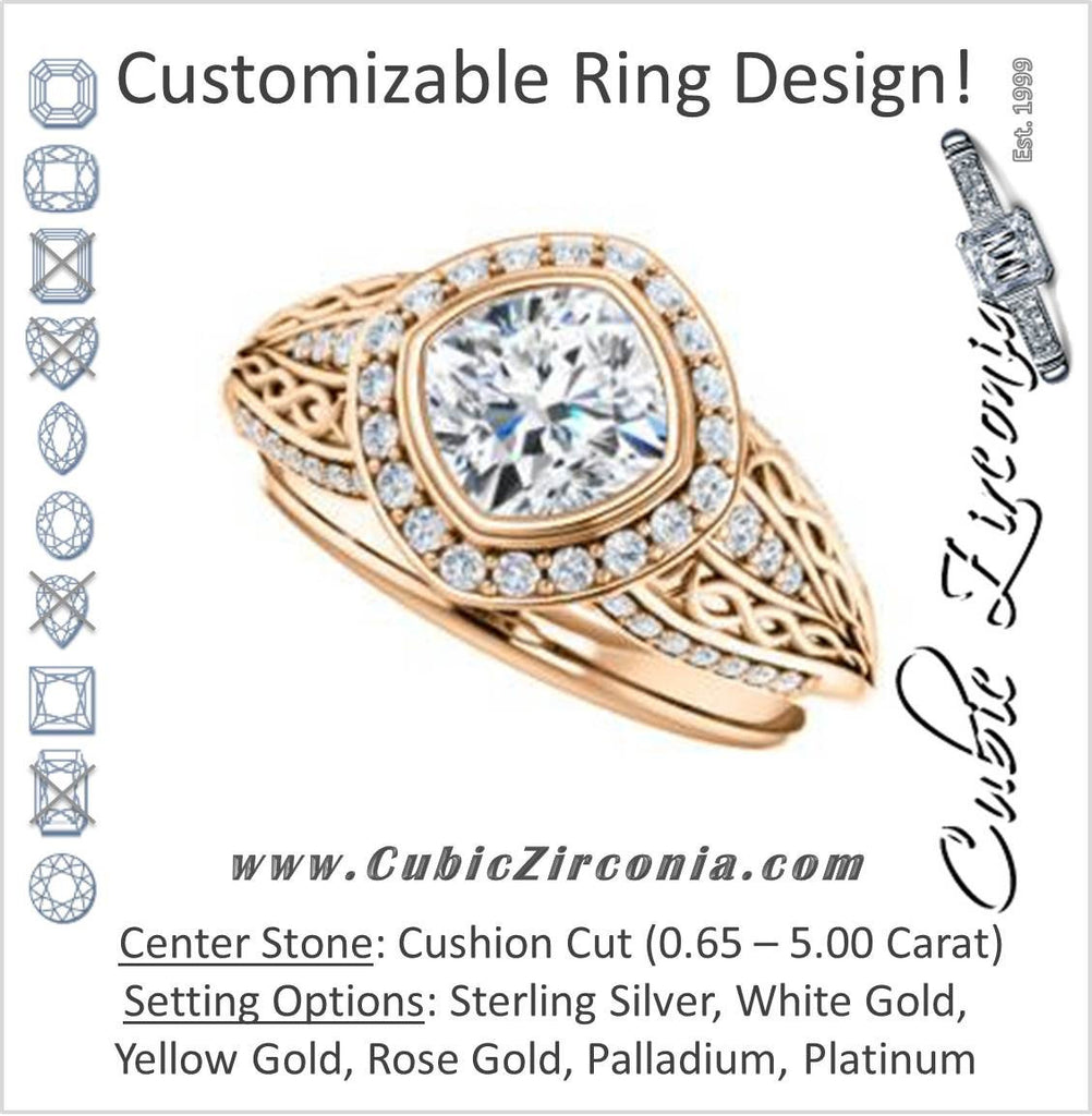 Cubic Zirconia Engagement Ring- The Tisha (Customizable Bezel-Halo Cushion Cut Design with Wide Filigree & Accent Band)