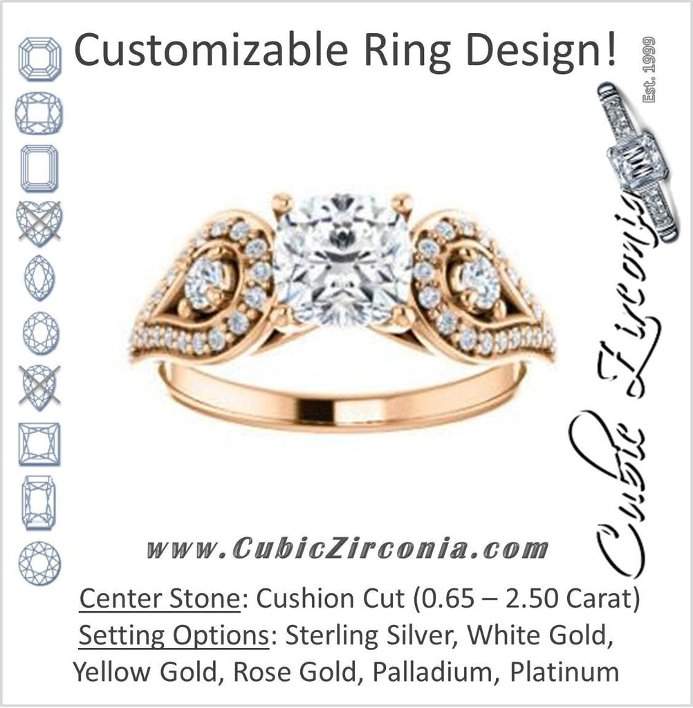 Cubic Zirconia Engagement Ring- The Tonya Laverne (Customizable Cushion Cut Design with Winged Split-Pavé Band)