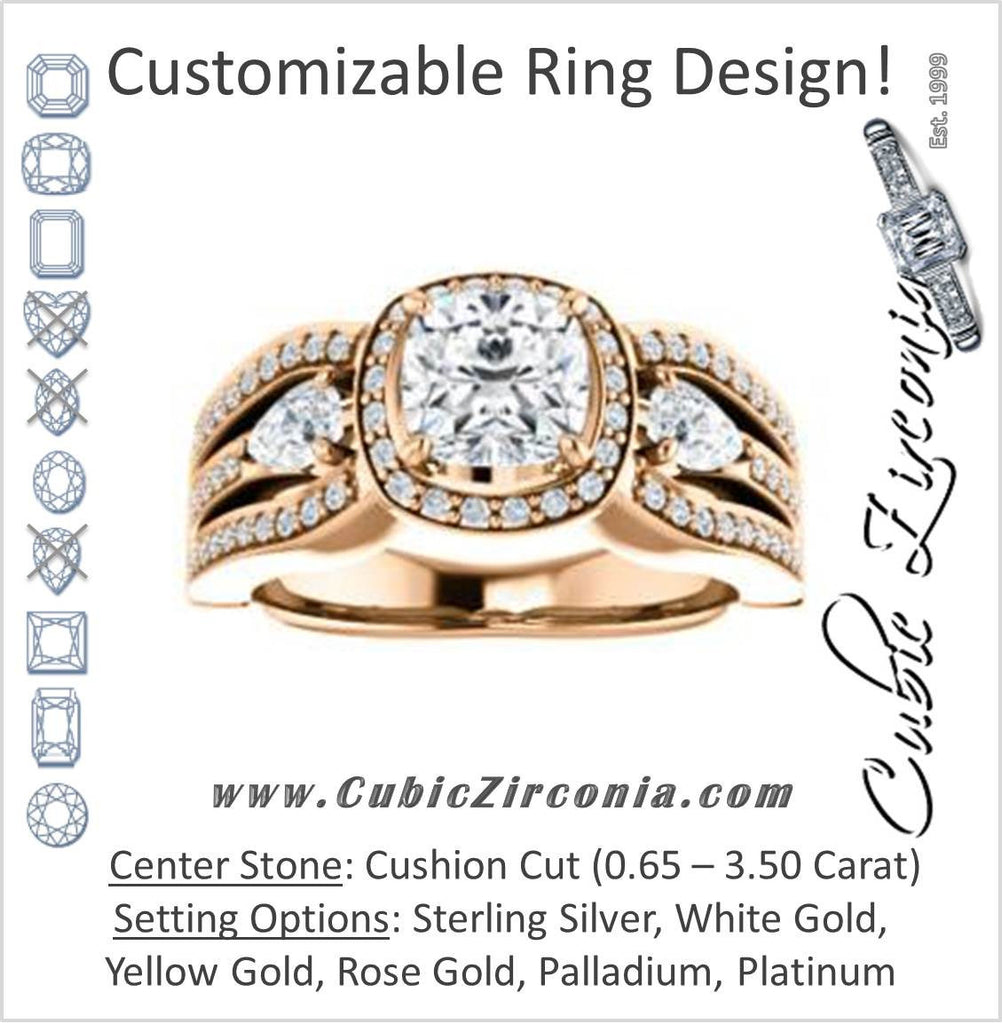 Cubic Zirconia Engagement Ring- The Tricia (Customizable Cushion Cut Ultrawide Split-Pavé-Band Design with Halo & Dual Pear Cut Accents)