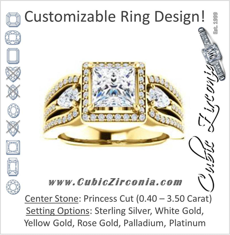 Cubic Zirconia Engagement Ring- The Tricia (Customizable Princess Cut Ultrawide Split-Pavé-Band Design with Halo & Dual Pear Cut Accents)