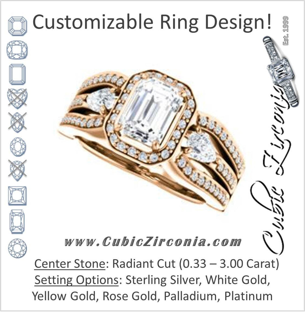 Cubic Zirconia Engagement Ring- The Tricia (Customizable Radiant Cut Ultrawide Split-Pavé-Band Design with Halo & Dual Pear Cut Accents)