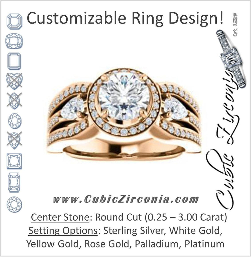 Cubic Zirconia Engagement Ring- The Tricia (Customizable Round Cut Ultrawide Split-Pavé-Band Design with Halo & Dual Pear Cut Accents)