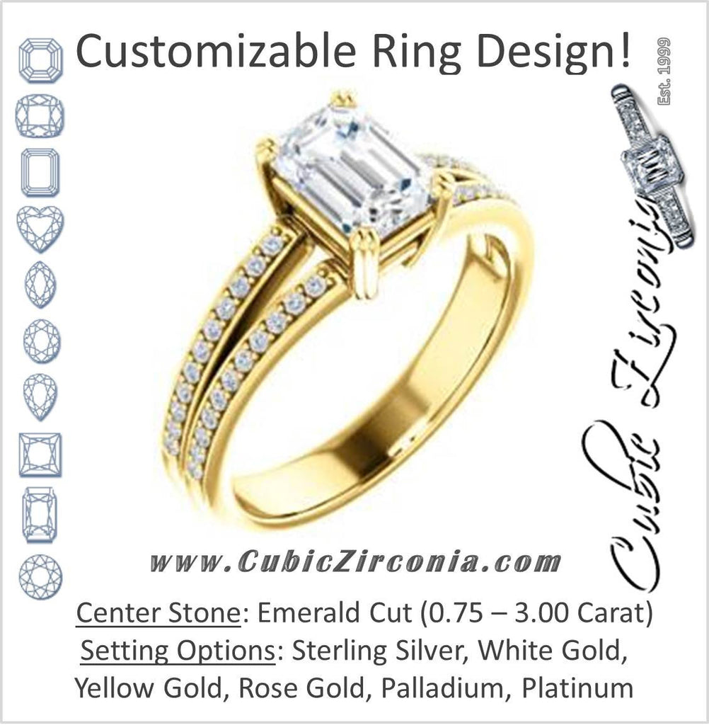 Cubic Zirconia Engagement Ring- The Trudy (Customizable Emerald Cut Style with Wide Double Pavé Band)