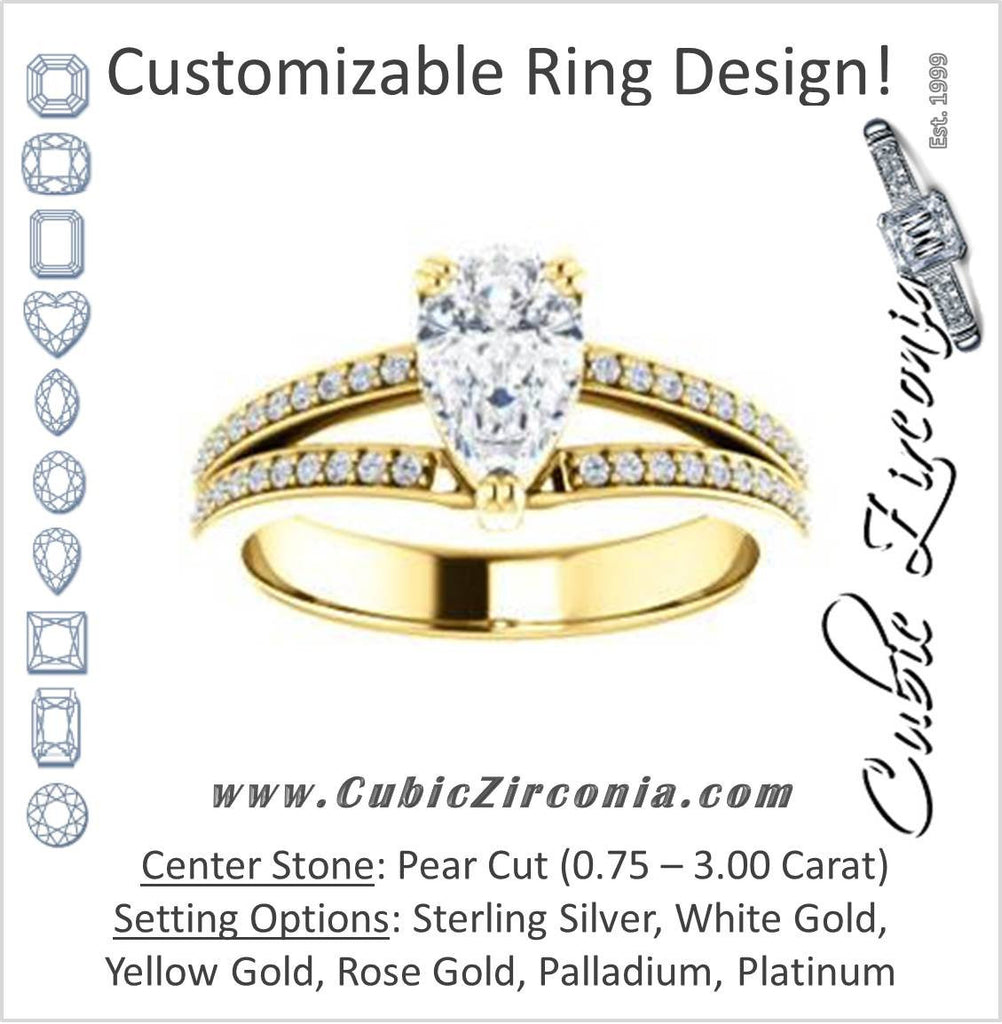 Cubic Zirconia Engagement Ring- The Trudy (Customizable Pear Cut Style with Wide Double Pavé Band)