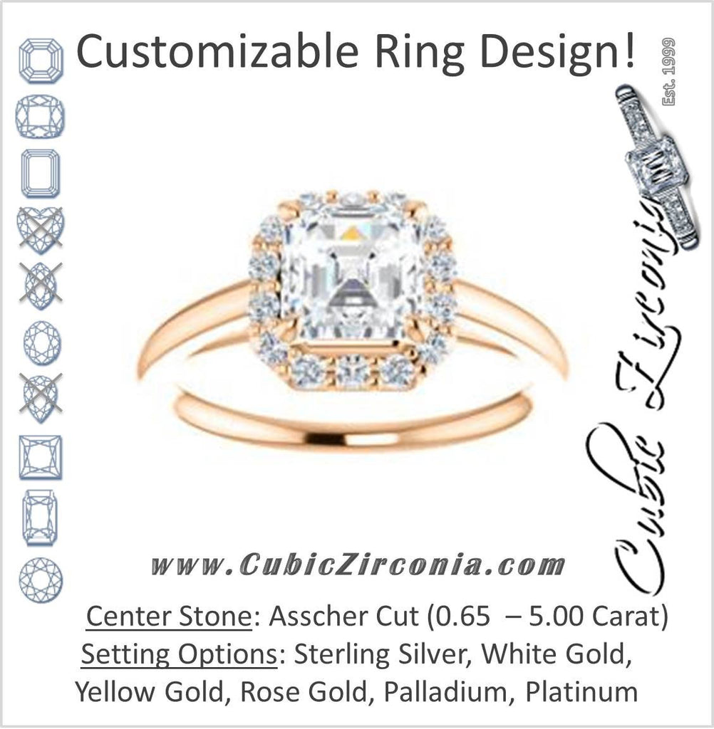 Cubic Zirconia Engagement Ring- The Tyra (Customizable Cathedral-set Asscher Cut Style with Halo, Decorative Trellis and Thin Band)