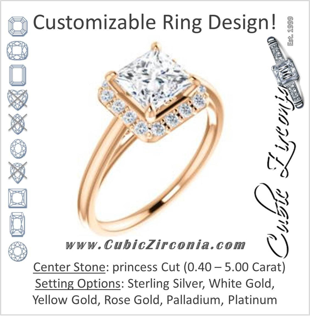 Cubic Zirconia Engagement Ring- The Tyra (Customizable Cathedral-set Princess Cut Style with Halo, Decorative Trellis and Thin Band)