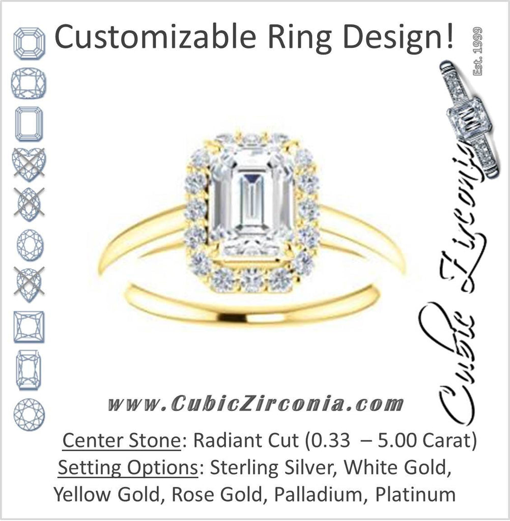 Cubic Zirconia Engagement Ring- The Tyra (Customizable Cathedral-set Radiant Cut Style with Halo, Decorative Trellis and Thin Band)