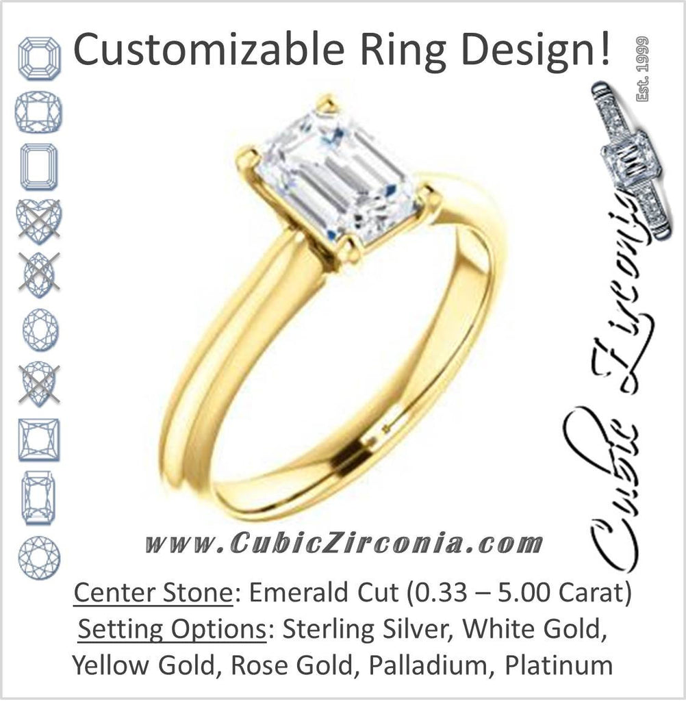 Cubic Zirconia Engagement Ring- The Ursula (Customizable Emerald Cut High-Set Solitaire)