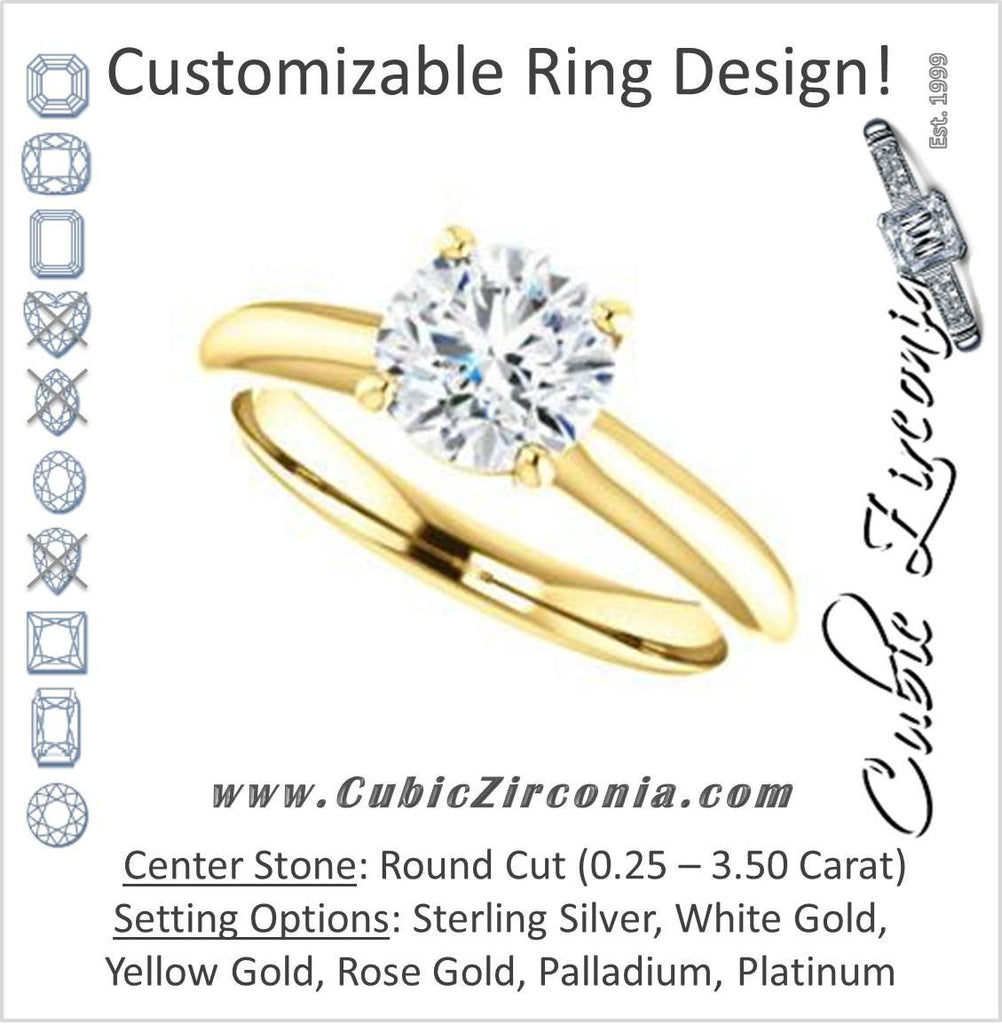 Cubic Zirconia Engagement Ring- The Ursula (Customizable Round Cut High-Set Solitaire)
