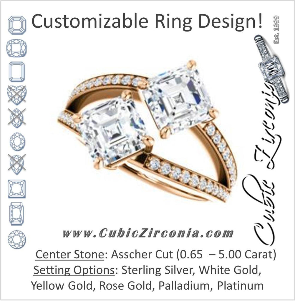Cubic Zirconia Engagement Ring- The Valentina (Customizable 2-stone Double Asscher Cut Design with Wide Split-Pavé Band)