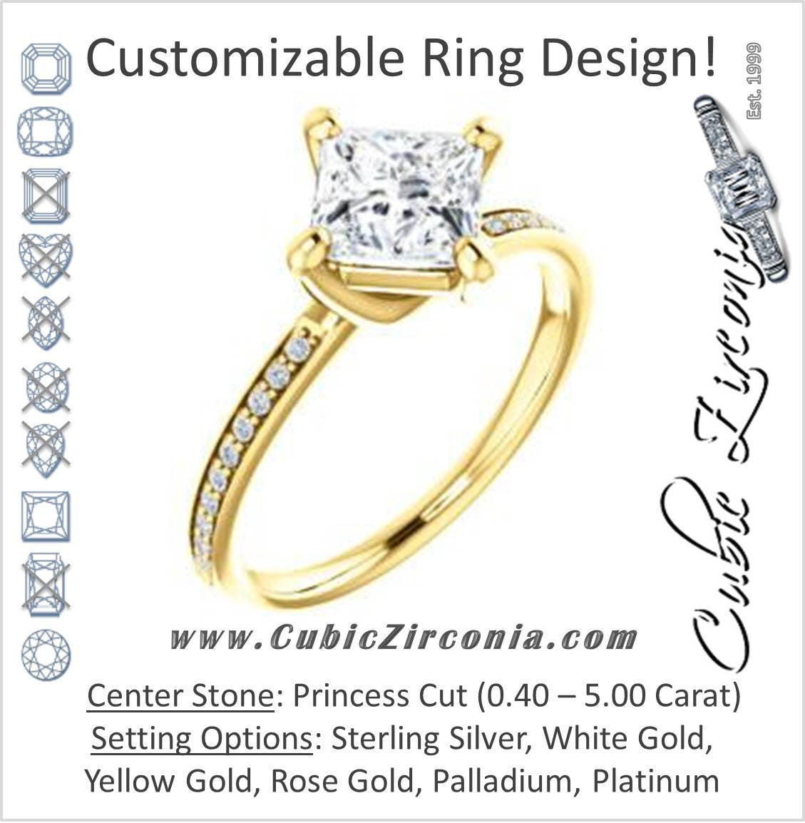 Kitesetting Princess Cut CZ Ring with Thin Pav Band The Valeria
