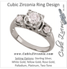 Cubic Zirconia Engagement Ring- The Vania (Floral Round Cut 3-stone)