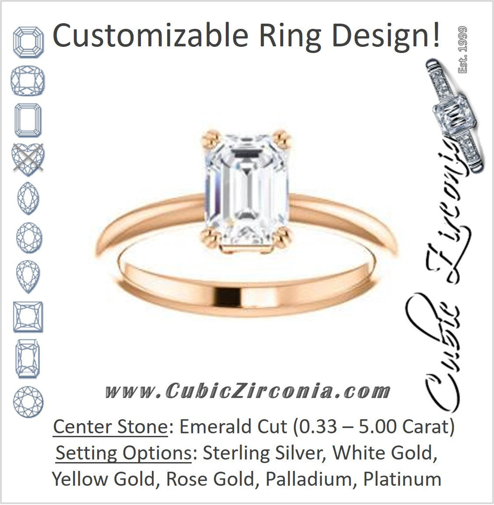Cubic Zirconia Engagement Ring- The Venusia (Customizable Emerald Cut Solitaire with Thin Band)