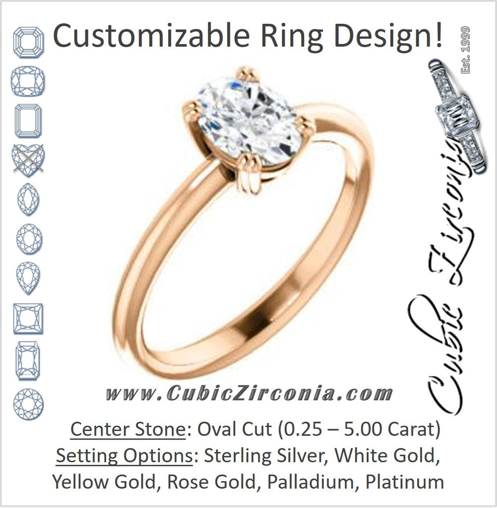 Cubic Zirconia Engagement Ring- The Venusia (Customizable Oval Cut Solitaire with Thin Band)