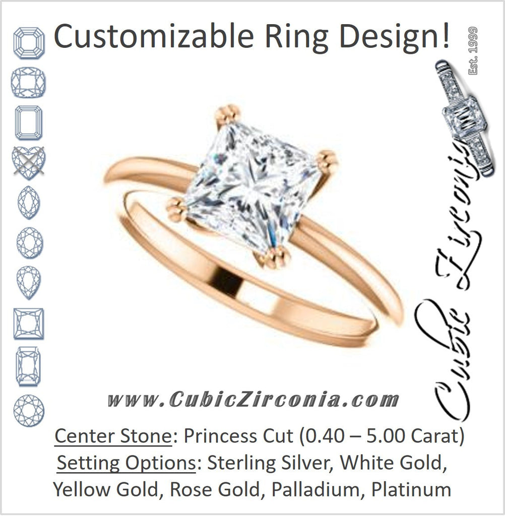 Cubic Zirconia Engagement Ring- The Venusia (Customizable Princess Cut Solitaire with Thin Band)