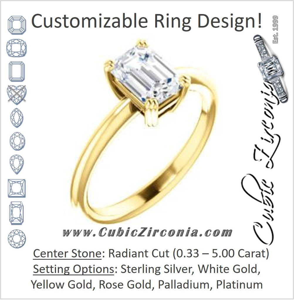 Cubic Zirconia Engagement Ring- The Venusia (Customizable Radiant Cut Solitaire with Thin Band)