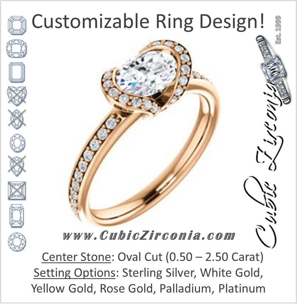 Cubic Zirconia Engagement Ring- The Victoria (Customizable Bezel-set Oval Cut Semi-Halo Design with Prong Accents)