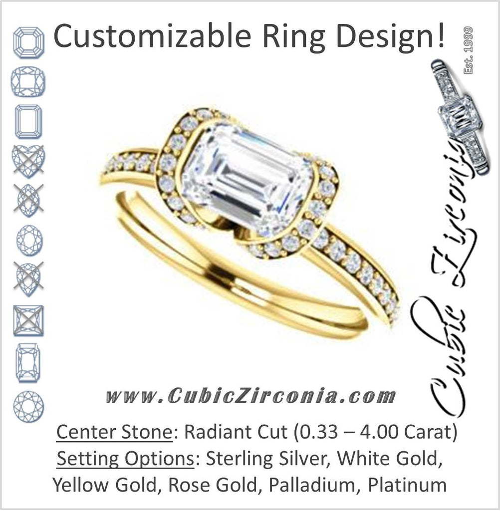 Cubic Zirconia Engagement Ring- The Victoria (Customizable Bezel-set Radiant Cut Semi-Halo Design with Prong Accents)