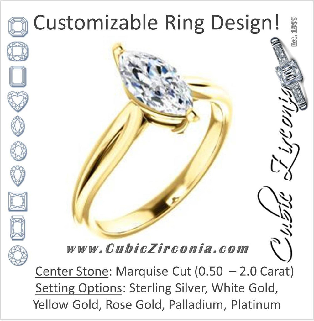 Cubic Zirconia Engagement Ring- The Viola (Customizable Marquise Cut Solitaire with Curving Tapered Split Band)
