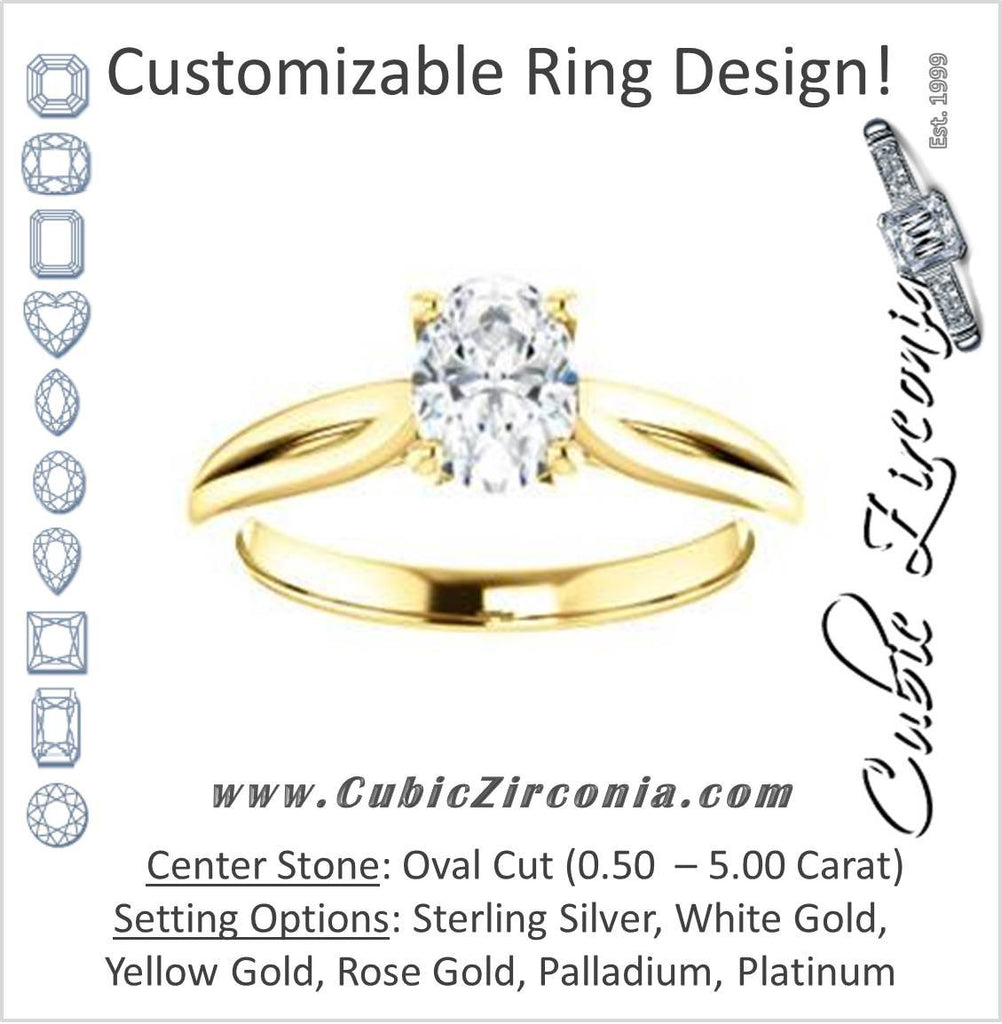 Cubic Zirconia Engagement Ring- The Viola (Customizable Oval Cut Solitaire with Curving Tapered Split Band)