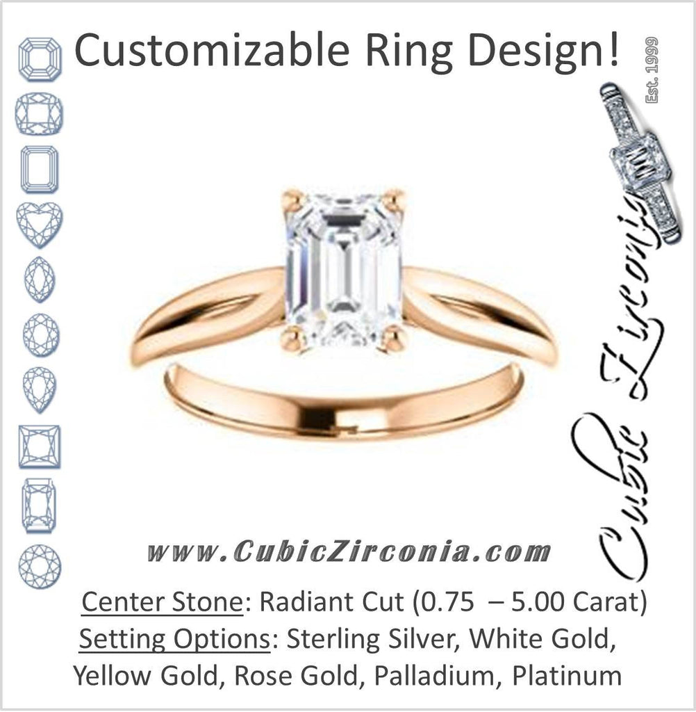 Cubic Zirconia Engagement Ring- The Viola (Customizable Radiant Cut Solitaire with Curving Tapered Split Band)