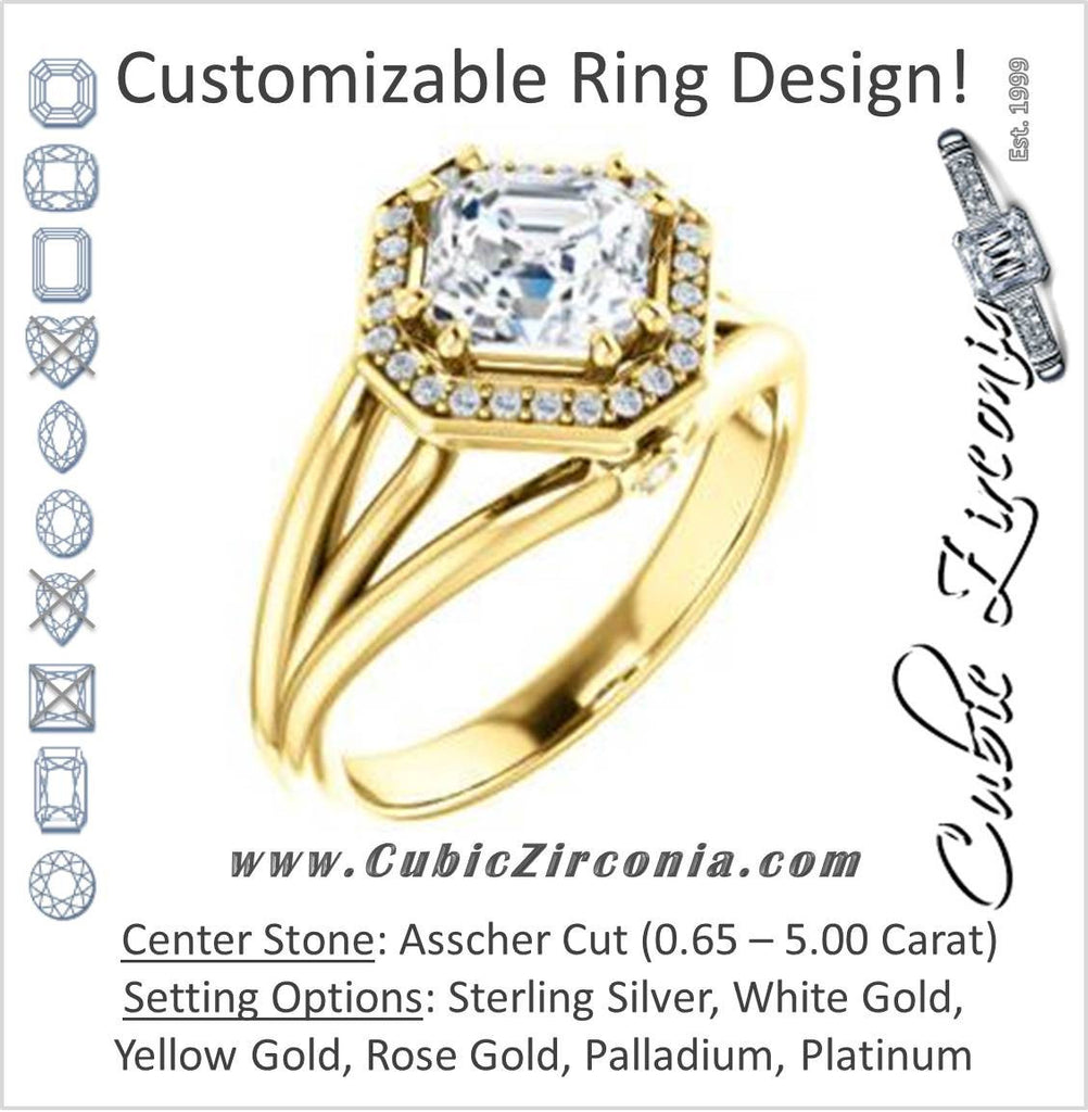 Cubic Zirconia Engagement Ring- The Wanda Lea (Customizable Asscher Cut Halo-style with Ultrawide Tri-split Band & Peekaboo Accents)